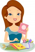 foto of card-making  - Illustration of a Pretty Woman Making Personalized Cards - JPG