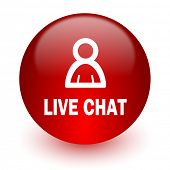 live chat red computer icon on white background