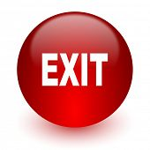 exit red computer icon on white background