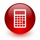 calculator red computer icon on white background