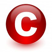 copyright red computer icon on white background