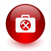 toolkit red computer icon on white background