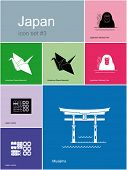 Landmarks of Japan. Set of flat color icons in Metro style. Raster image
