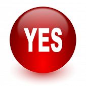 yes red computer icon on white background
