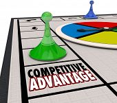Competitive Advantage words board game piece moving around to be the winner