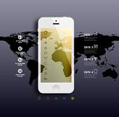 White Mobile Phone with Blurred Background and World Map. Flat Design Icons. Vector.