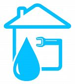 stock photo of spigot  - blue plumbing icon with drop of water and spanner on home - JPG