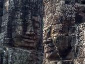 Giant Stone Faces at Bayon Temple at Angkor, Cambodia