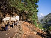 stock photo of sherpa  - Unrecognizable Sherpa porters carrying large loads walking uphill - JPG