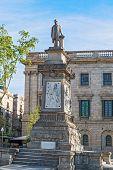 Antoni Lopez Stone Statue In Barcelona, Spain