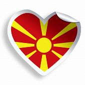 Heart Sticker With Flag Of Macedonia Isolated On White
