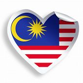 Heart Sticker With Flag Of Malaysia Isolated On White