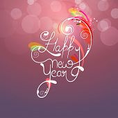 Happy New Year 2015 greeting card with floral design decorated stylish text on shiny background.