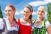Friends visiting together Bavarian fair in national costume or Dirndl
