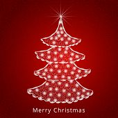Celebration of Merry Christmas with lights decorated stylish X-mas tree on seamless red background.