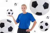 Female Soccer Player Over White Background With Flying Leather Balls