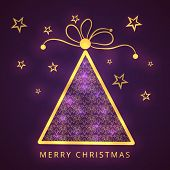 Beautiful golden X-mas tree on stars decorated purple background for Merry Christmas celebrations.