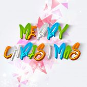 Merry Christmas celebration poster, banner,or flyer with colorful 3D text on abstract background.