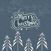 Merry Christmas celebration poster, banner or flyer design with fir trees and stylish text on snowflake decorated background.