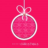 Beautiful floral decorated X-mas ball for Merry Christmas celebration on pink background.