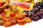 assortment dried fruits on white