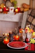 Festive autumn serving table in room