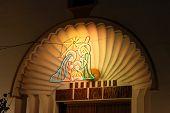 Christmas nativity decoration on church.