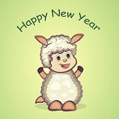 Happy New Year celebration with cute sheep and stylish text on green background, can be use as poster, banner or flyer.