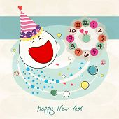 Happy New Year greeting card with snowman face and colorful clock on abstract background.