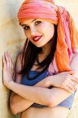 pic of turban  - Woman wearing a turban in the desert - JPG