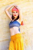 foto of turban  - Woman wearing a turban in the desert - JPG