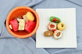 stock photo of laddu  - Assorted sweets made in India - JPG