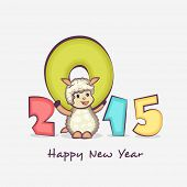 Colorful text 2015 with cute cartoon of sheep on grey background for Happy New Year celebrations.