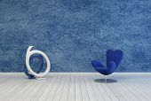 3D Rendering of Minimalist blue living room decor and interior with a rough textured painted wall over a white wooden floor with a modular armchair and contemporary abstract round sculpture or artwork