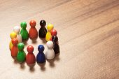 Diversity, Friends, Circle, Figurine Concept On Wood Table