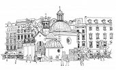 The town square in Krakow. Poland. Black & white vector sketch