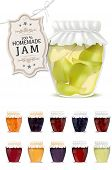 stock photo of jar jelly  - Set of homemade jam in jars  - JPG