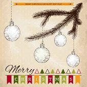 Vintage sketch for Christmas card or invitation design.