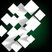 Paper Square Banner On Green Background