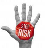 Stop Risk Sign Painted -Open Hand Raised.