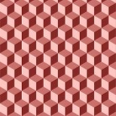 Abstract Isometric Red Cube Pattern Background
