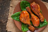 foto of marinade  - Baked chicken drumsticks in honey mustard marinade - JPG