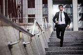 Business man is running away
