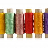 Several Spools Of Colored Threads