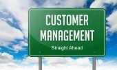 Customer Management on Highway Signpost.