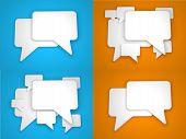 Blank Speech Bubble on Blue and Orange Background.