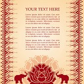 Oriental lotus and elephant henna background