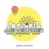 linear background with urban landscape, a stylish modern design for your business