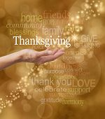 image of thanksgiving  - Golden bokeh background with a string of glittery sparkles and a female hand outstretched with a white  - JPG