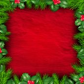 Christmas Frame From Holly Berry With Gradient Mesh, Vector Illustration
